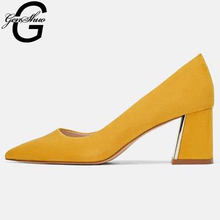 GENSHUO Women's Shoes Dress Shoes Black Yellow Thick With Shallow Pumps Fashion Classic Concise Casual Ladies Work Shoes Size 40(China)