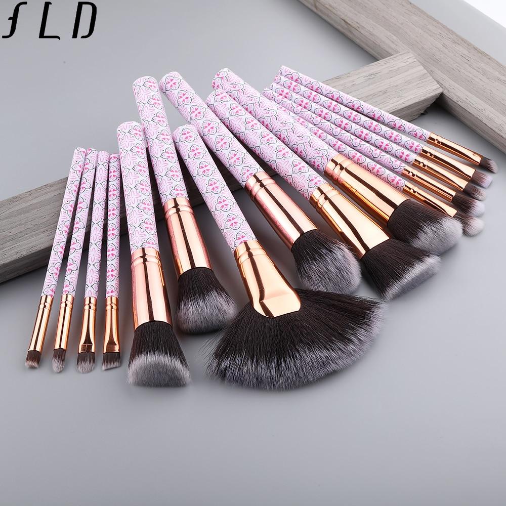 FLD Professional Makeup Brushes Blush Powder Eye Shadow Eyeliner Brush Set Bohemia Fan Face Brushes