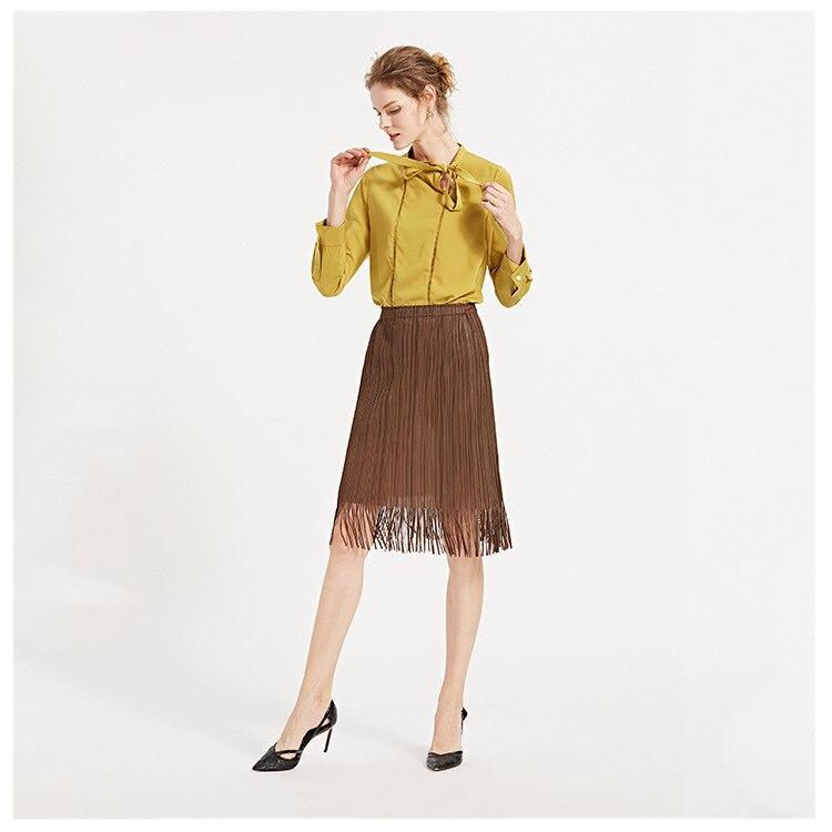 Caramel Colores black Nuevas Mujer 2019 Flecos Elegante Faldas Alta De Con Las Mujeres Tres Cintura Slim Verano grey Falda x4aqZ