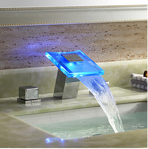LED Colors Glass Waterfall Spout Bathroom Sink Faucet Dual Handles Mixer Tap