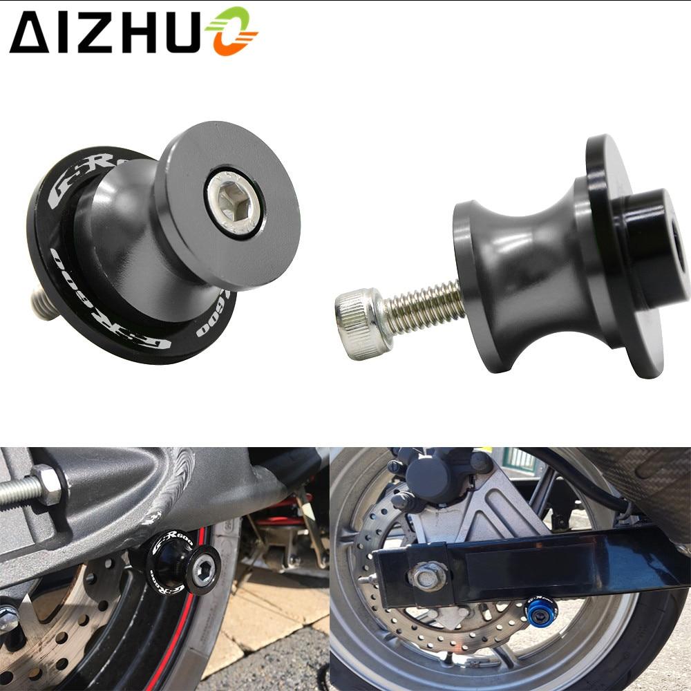 With GSR600 LOGO 8mm Motorcycle Swingarm Slider Spools CNC Aluminum 8 Color Motor Parts Stand Screws For Suzuki GSR 600 GSR600