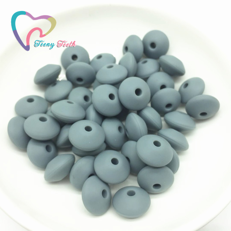 Teeny Teeth 50 PCS Dark Gray Lentils Silicone Beads For Teething Necklace Baby Teether Toy Accessories Silicon Pacifier Beads