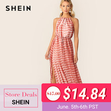 8341071563 SHEIN Boho Rust Tie Dye Drawstring Waist Split Thigh Knot Halter Summer  Long Dress Women Backless High Waist A Line Dresses