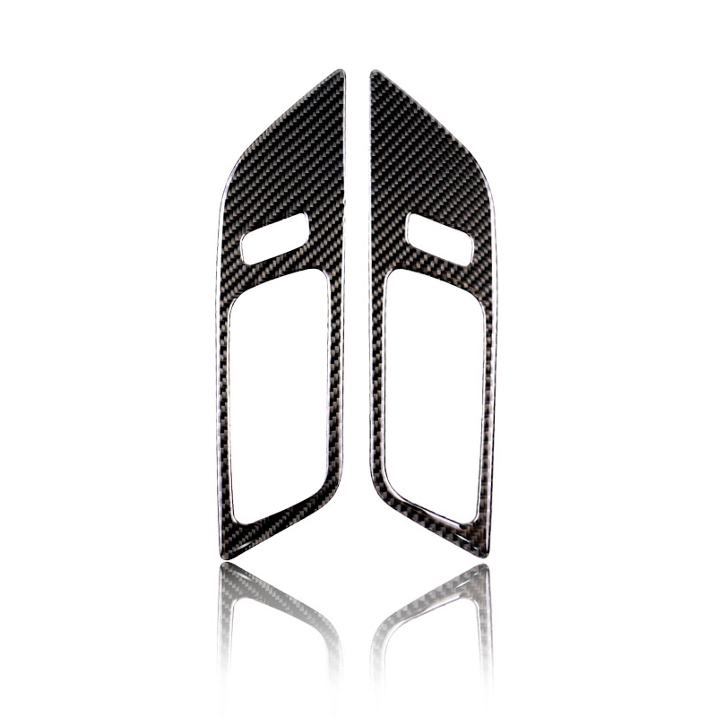Image 2 - 2pcs Car Carbon Fiber Interior Door Panel Door Bowl Cover Sticker Trim For Ford Mustang 2015 2016 2017-in Interior Mouldings from Automobiles & Motorcycles