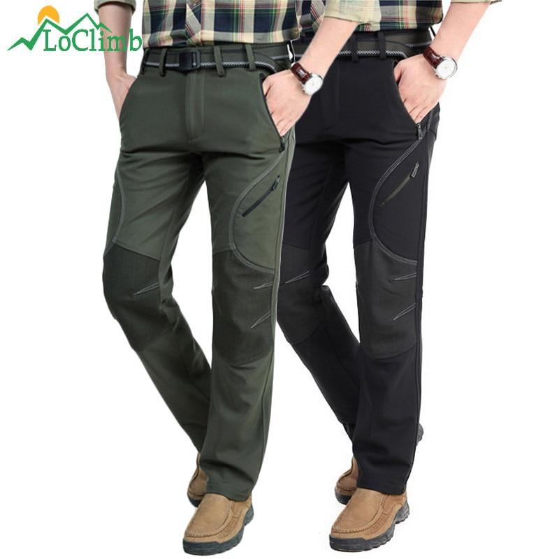 LoClimb Men's Winter Hiking Pants Men Fleece Softshell Trousers Man Outdoor Mountain/Ski/Fishing/Trekking Waterproof Pants AM093