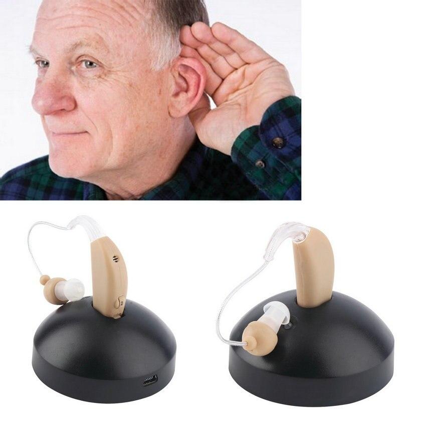 Nuevo audífono de oreja recargable mini dispositivo amplificador auditivo digital detrás de la oreja para ancianos acustico enchufe EU