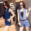 New Top Hot Sexy Rompers Womens Summer Jumpsuit Shorts Denim Overalls Bodysuit Deep V-Neck Sleeveless Jumpsuits With Belt DS-303