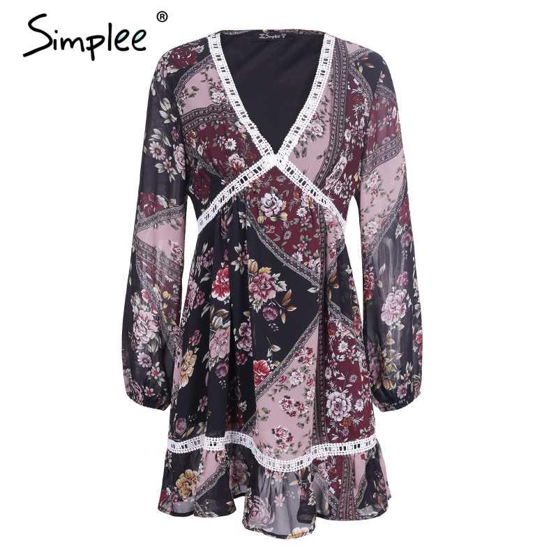 Simplee/зимнее платье с цветочным принтом и оборками, женское осеннее платье с v-образным вырезом и длинными рукавами, кружевное Открытое платье, femme vestidos