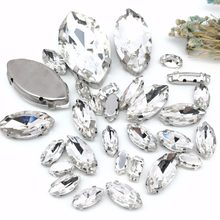 Popular!MIX White Horse eye Size Crystal Glass Sew-on Rhinestones Silver Bottom DIY Women's Dresses and shoes 30pcs(China)