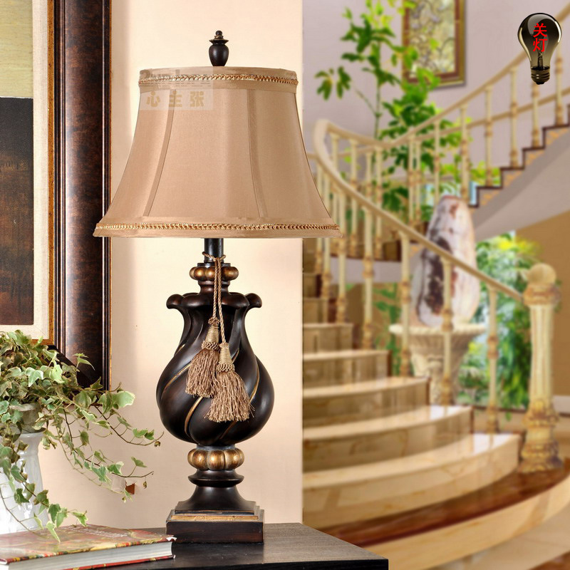 TUDA 30X60cm Free Shipping Classical Design Resin Table Lamp Vintage American Style Table Lamp for Living Room Decor Table Lamp