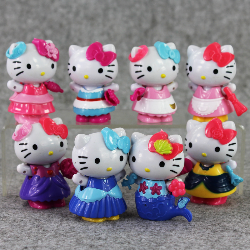 New Style 8Pcs/Lot 7CM Lovely Cute Hello Kitty Toy Figure Doll Toy Collection Gifts For Kids