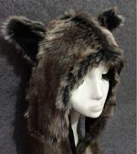 7bfd03613823b Faux Rabbit Fur Winter Hat for Women Men Skullies Beanie Animal Hat Ear  Flaps Wolf Plush Warm Cap with Long Scarf Mittens Gloves