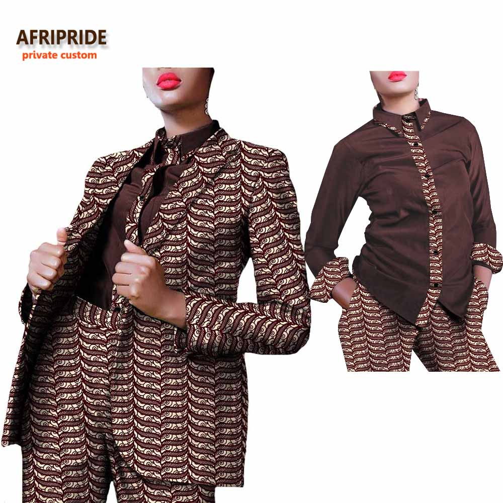 2018 african office lady 3 pieces suit AFRIPRIDE full sleeve coat single button coat blouse full length pant women suit A722662 in Women 39 s Sets from Women 39 s Clothing