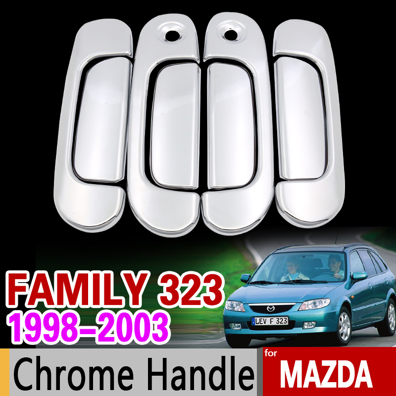 for Mazda 323 Family 1998-2003 Chrome Handle Cover Trim Set for Ford Laser KN KQ 1999 2000 2001 2002 Car Accessories Car Styling