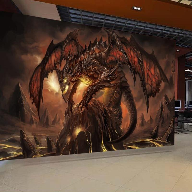 Custom Mural Wallpaper World Of Warcraft Fiery Dragon Background Wall Painting 3D Murals Wallpaper For Living Room