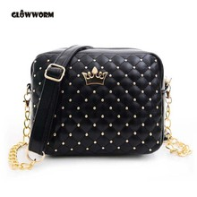 GLOWWORM 2017 Women Bag Fashion Women Messenger Bags Rivet Chain Shoulder Bag High Quality PU Leather