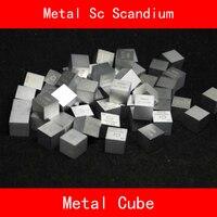 Sc Scandium Cube Bulk Glas Seal Pure 99.9% Periodieke Tafel van Zeldzame aarde Metalen Elementen voor DIY Onderzoek Studie School Onderwijs