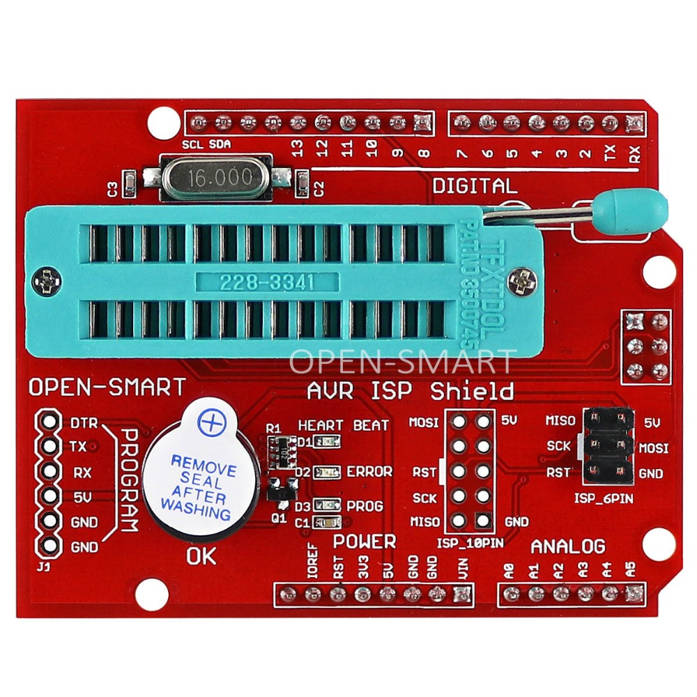 AVR ISP Shield Burning Bootloader Programmer Atmega328P Bootloader module with buzzer and LED indicator for Arduino UNO R3
