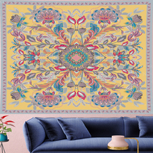 psychedelic macrame wall Tapestry Vintage Style yellow  boho goblen Retro Pattern Wall Hanging Yoga Mat towel home decor