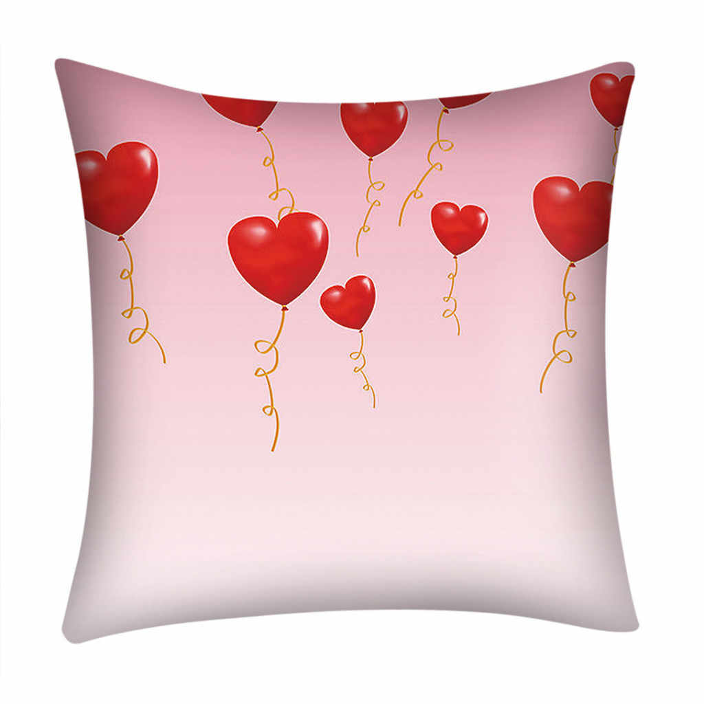 8ef0b45f285 Valentine's Day Pillowcases Polyester Heart Shape Print Throw Pillow Case  Cover Expressing love As A Gift