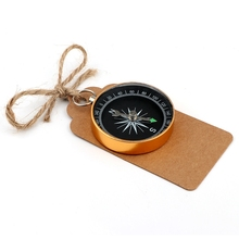 Set of 100 Party Favor Compass with Kraft Paper Tags