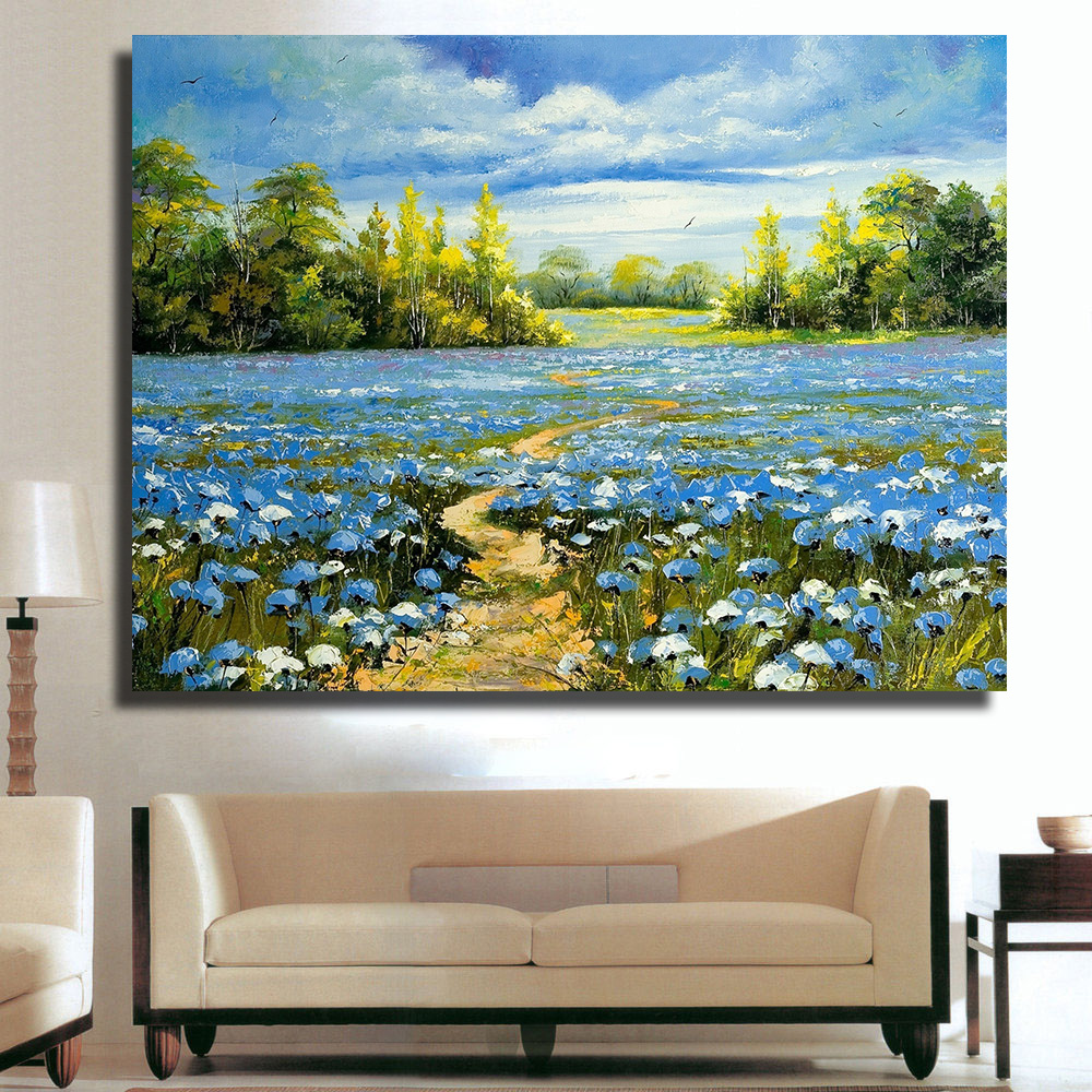 popular nice field buy cheap nice field lots from china nice field qk art home decor nice blue flower field landscape oil painting canvas print wall pictures for