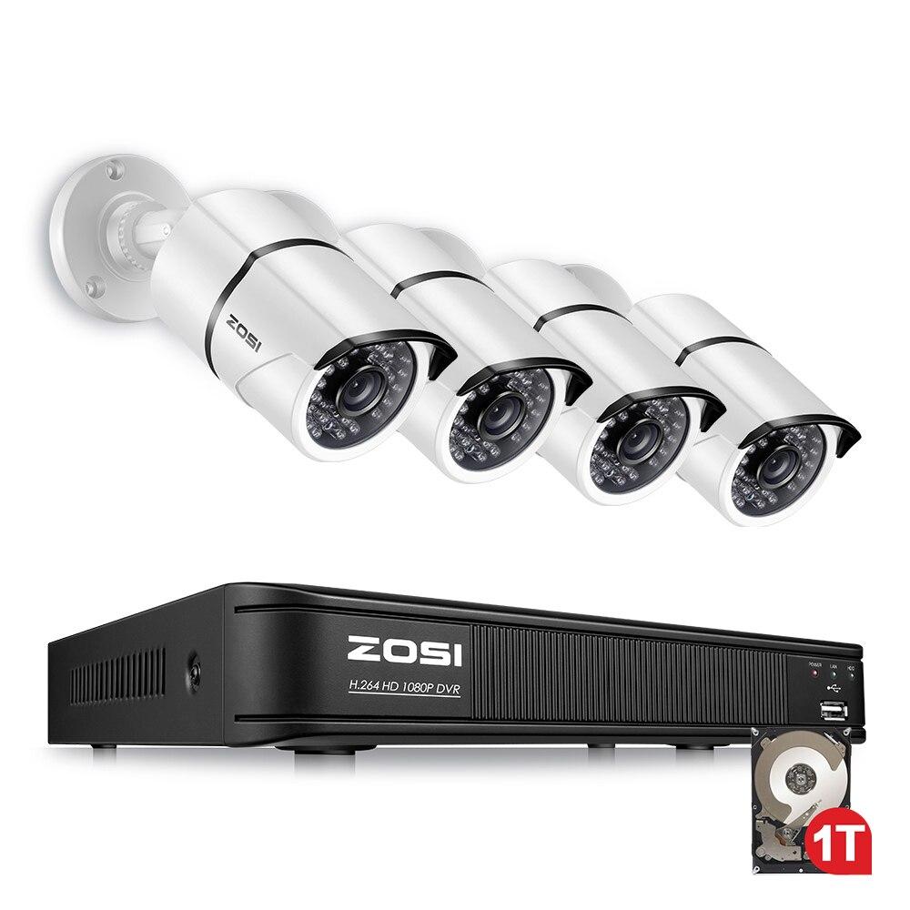ZOSI 4CH AHD-TVI 1080 p Sistema di Telecamere di Sicurezza con (4) 2.0MP 1920TVL Interno/Esterno Resistente Alle Intemperie Telecamere Bullet 1 tb HDD Built-In