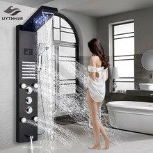 Uythner lüks fırçalanmış nikel banyo duş musluk LED duş paneli sütun küvet mikseri dokunun W/duş başlığı sıcaklık ekranı