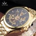 2016 Marca SEWOR Luxo Grandes Homens Relógio Automático auto-vento Moda Casual Esportes Masculino Relógio de Aço Cheio de Ouro Esqueleto relógios de pulso