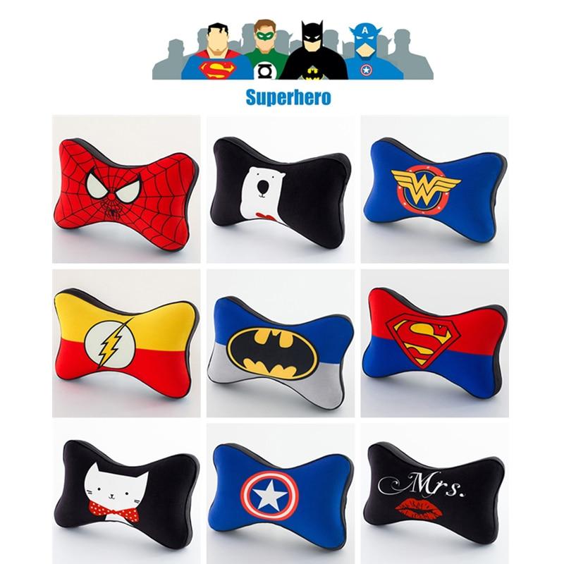 A&P--Car Headrest Head Neck Pillow Cute Superheros Superman/Captain /Batman/Spider-Man Memory Foam Auto Travel Pad Accessories