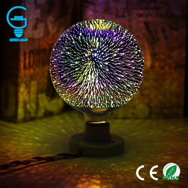 3D Colourful Star LED Edison Bulb E27 220V Lamp Decoration Novelty Light A60 ST64 G80 G95 G125 Holiday Wedding Party Ampoule