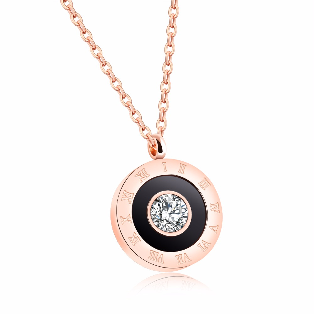 Crystals From Swarovski Bulgaria Jewelry Fashion Vintage Stainless Steel Round Necklace Pendant Rose Gold Necklace for Women vintage ivory decorated carving stainless steel pendant necklace