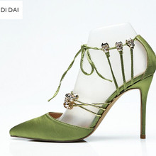 2019 New women green high heels thin heel gold skull tied pumps party shoes  satin pumps 8abefedc3195