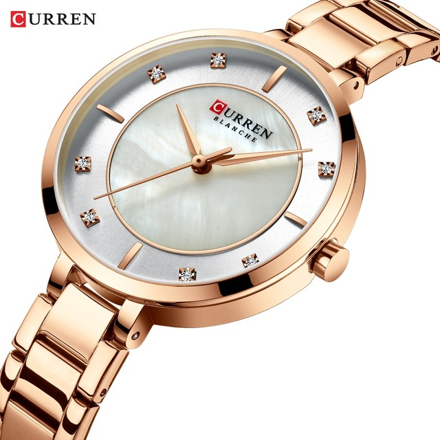 CURREN Ladies Watches Fashion Elegant Quartz Watch Women Dress Wristwatch with Rhinestone Set Dial Rose Gold Steel Band Clock
