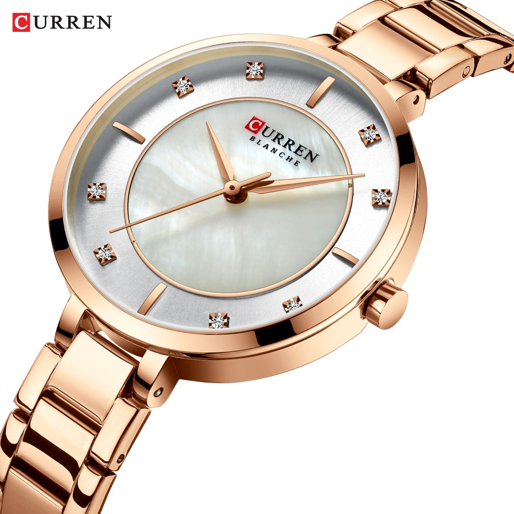 CURREN Ladies Watches Fashion Elegant Quartz Watch Women Dress Wristwatch With Rhinestone Set Dial Rose Gold Steel Band Clock