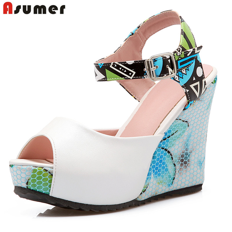 ASUMER Big size 34-43 new fashion women summer peep toe platform wedding shoes woman sexy sandals female shoe wedges high heels 2018 summer new arrived strap design wedges women sandals peep toe comfort mid heel sexy lady sandal fashion student casual shoe