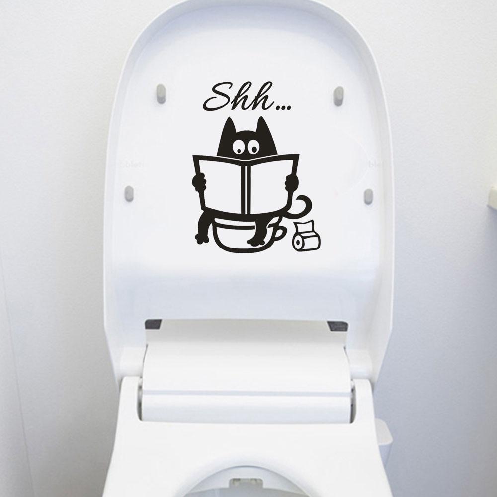 Милые наклейки на унитаз с рисунком кота Шшш Сделай Сам Ванная Комната Дверь сиденье для унитаза декоративная наклейка смешной декор плакат съемное панно из винила искусство