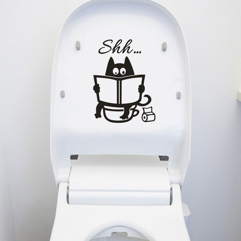 Cute Cartoon Cat Shh Toilet Stickers DIY Bathroom Door Toilet Seat Decorative Decal Funny Decor Poster Removable Vinyl Mural Art(China)