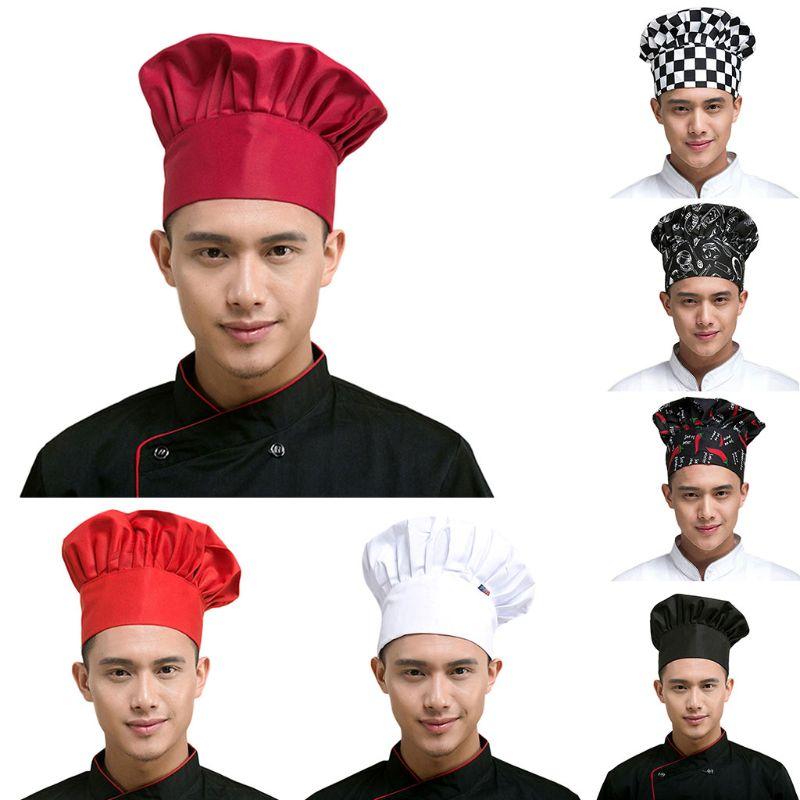 1 Stück Restaurant Koch Küche Arbeitskleidung Hut Einfarbig Gestreiften Gedruckt Hotel Kellner Kochen Bbq Pilz Kappe Einstellbare Elastische