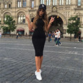 New 2016 Women Summer Slim Package Hip Dress vestidos Round Neck Short Knee Length Dress robe femme