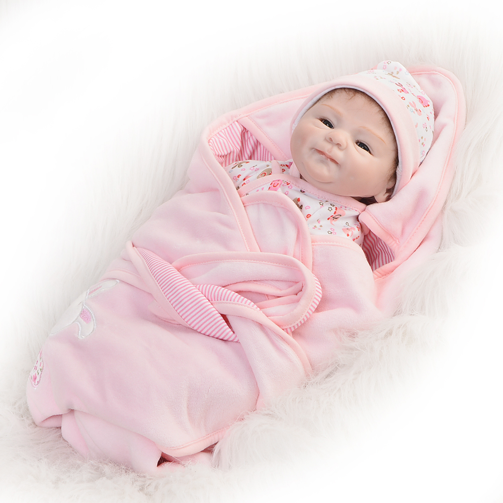 So Lovely 16 Inch Reborn Baby Doll Toy Real Like Smile Girl Soft Silicone Reborn Babies Alive bebe Cloth Body Reborn Boneca Doll 16 inch lifelike reborn baby dolls girl gifts soft silicone toy alive simulation toddler babies doll lovely wear pink dress bebe