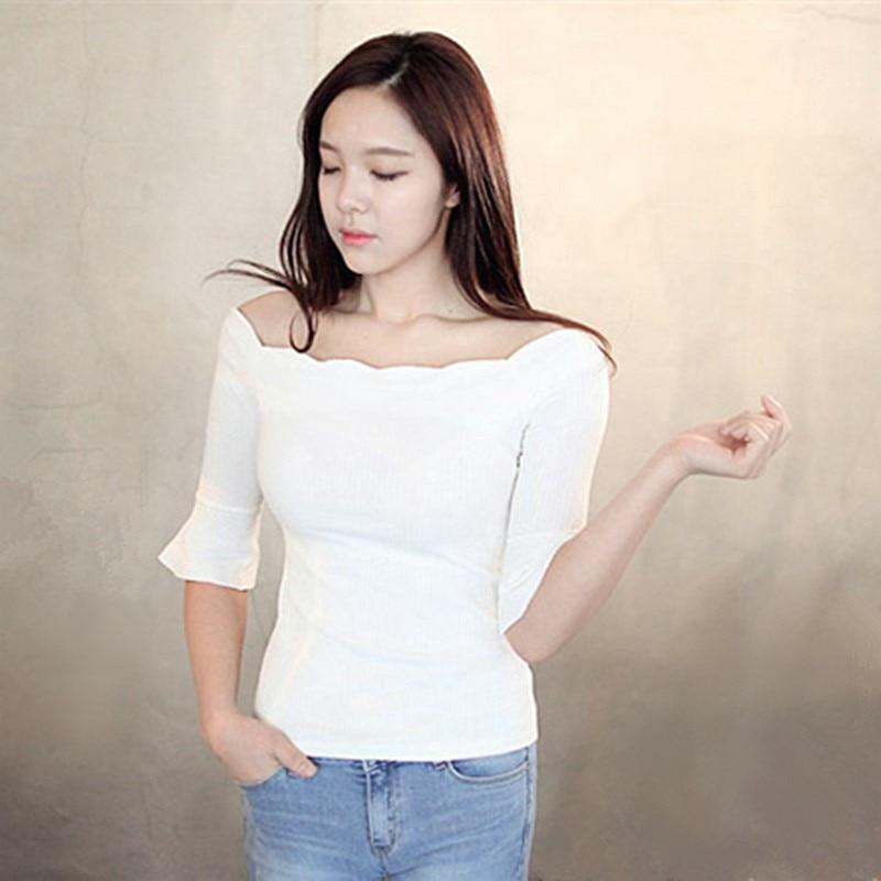 a631fd668 Mulher encabeça verão 2018 coreano vogue camiseta tshirt branco senhoras  incendiar manga fora do ombro elasticidade malha camiseta femme