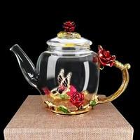 Bule de vidro esmalte luxo cristal rosa flor de vidro bule de chá de alta qualidade resistente ao calor pote de chá de vidro presente do dia dos namorados 280ml