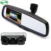 Бесплатная Доставка Dual Core Визуальный Автомобилей Видео Парковочный Сенсор С Задней Камера заднего вида + 4.3 TFT ЖК Авто Зеркало Монитор С Кро
