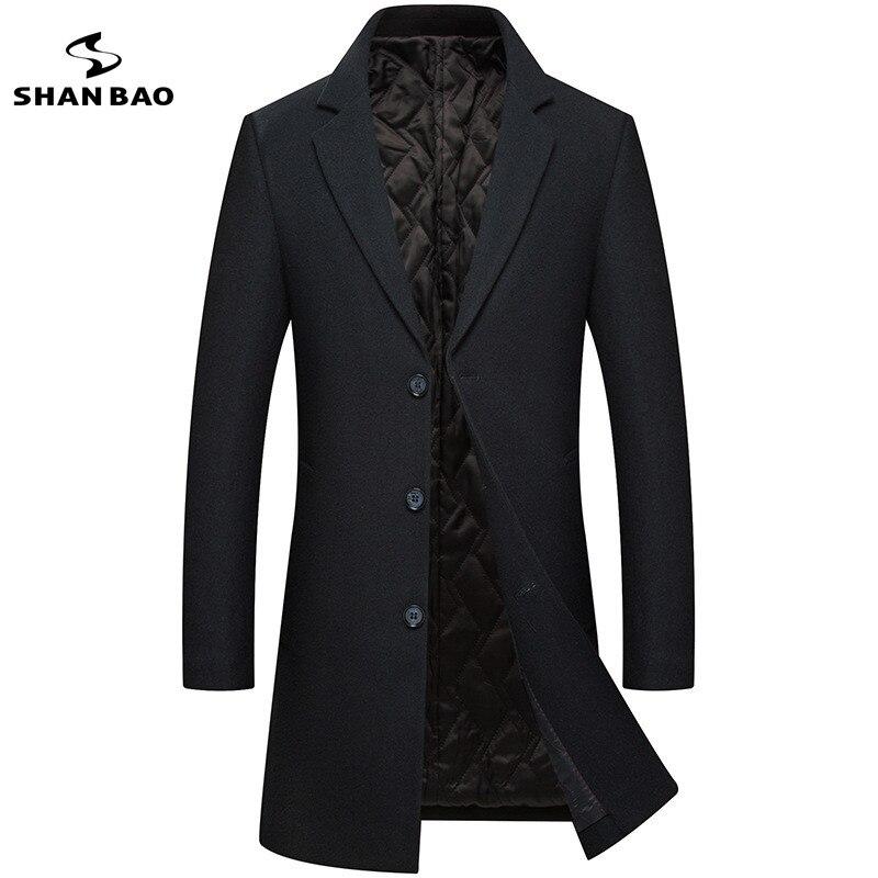2018 hiver de luxe de haute qualité hommes laine manteau veste épaisse chaud gentleman casual revers single-breasted slim laine manteau