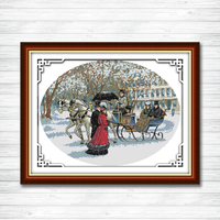 Scenery Of Snowy Day Counted Printed On Canvas DMC 14CT 11CT Cross Stitch Kit Embroidery Needlework