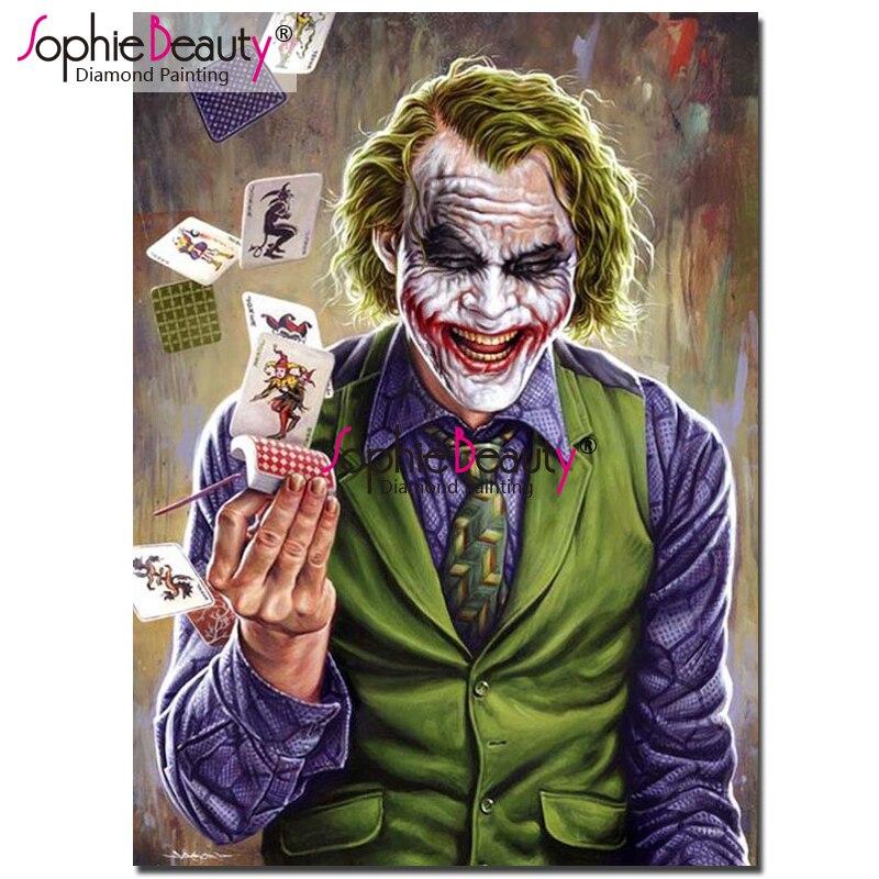 Halloween Joker Card.Us 6 05 45 Off Sophie Beauty Diy Diamond Painting Cross Stitch Clown Joker Card Pattern Embroidery Rhinestone Mosaic Home Decro Gift Sby99 In