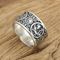 China four sacred animal Taiji Bagua Ring real 925 sterling silver 925 jewelry for men wedding ring fashion jewelry 2016 GY102