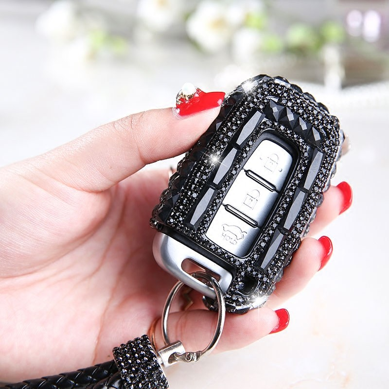Luxury Diamond bling car key case cover/ key shell holder shell keychain for Hyundai KIA K2 K5 IX35 Woman Accessories