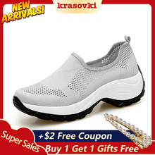 Krasovki Sneakers Women Casual Shoes Platform Slip on Breathable Comfortable for Walking Female Fashion